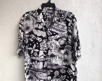 SALE 30% Vtg Jams World Floral Hawaiian South Pacific Sopa Abstract Tropical Shirt Size L