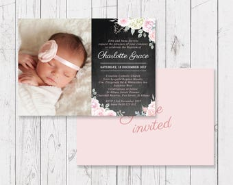 Pink Floral Girl Photo Baptism Invitation Christening Invitation, Personalised, Professionally Printed, Blackboard, Peach Perfect