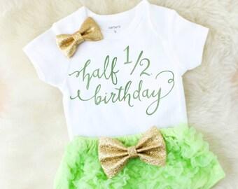 half birthday girl - birthday girl outfit - baby birthday outfit - baby girl outfits - baby girl clothes - birthday girl gift - baby gift