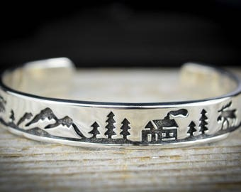 Size 6-1/4 ~ Sterling Silver shadowboxed / engraved Mountain cabins and Wildlife Moose cuff Bracelet