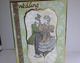 Wedding Card,  Wedding Day Card, Steampunk Card, Bride and Groom, Happy Couple,
