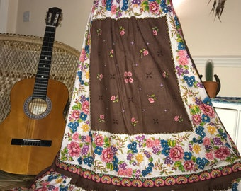 Vintage 1970s floral brown pink blue cream 60s / 70s hippy boho gypsy maxi skirt