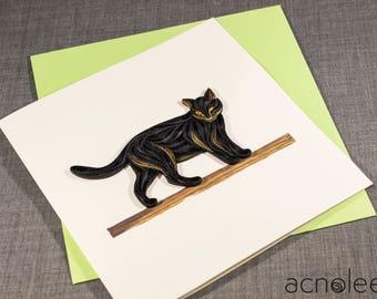 Quilled Black Cat Animal Card