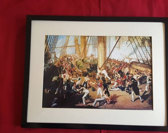 H.M.S. Victory, death of Nelson, 1805, newprint and frame.
