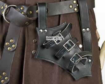 Medieval Genuine Leather Bridle Right Hand Sword Adjustable Frog