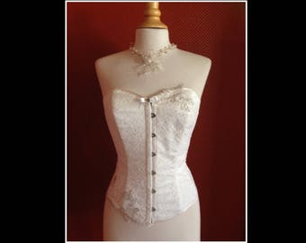 Strapless Corset - Satin Duchess covered with fine lace
