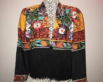 Vintage 90's Floral Jacket / size 8 / by A.C. Sport