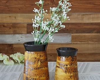 Laurentian pottery Artisan VASES Vintage vases Pottery made in Canada Set of 2 vases Rustic decor Farmhouse Kitchen
