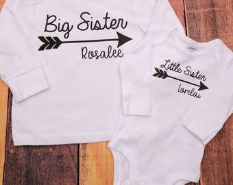Big sister little sister shirts, matching sister shirts, big sister little sister, big sister gift, baby shower gift, pregnant announcement
