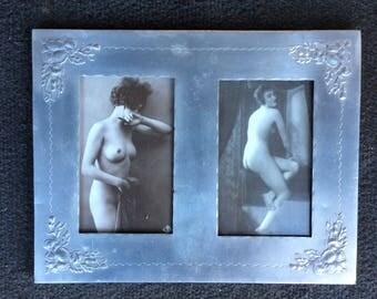 Antique Vintage 1900's Photograph Frame Saucy Photos Art Nouveau