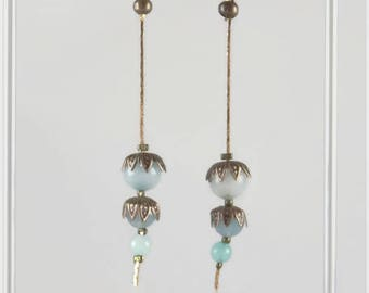 Aquamarine and copper; flowers fine stone for spring earrings - 123 stones jewelry
