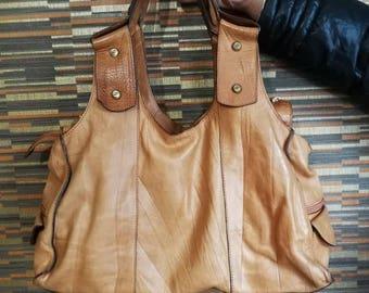 Vintage Tan leather Bag Tan Leather Tote Bag, Leather Shoulder Bag, Leather Handbag, Leather Tote, Woman Leather Bag, Leather Bags Women
