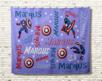 Captain America Blanket, Personalized Blanket, Marvel Comics Blanket, Monogram Blanket, Super Hero Lover Gift, Custom Birthday Gift