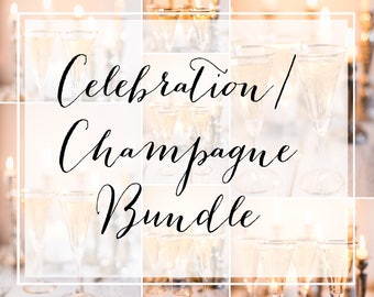 Bundle Champagne Celebrate Styled Stock Photo Flat Lay Mockup Photography Social Media Template Personal Branding Blog Header Instagram