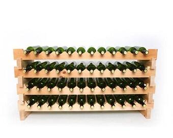 48 Bottle 4 Shelf Pine Stackable Wine Rack