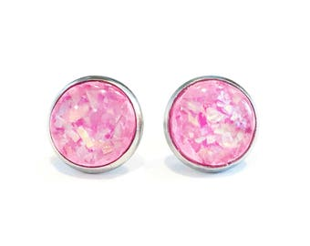 bright pink earrings, round stud earrings, pink opal stud earrings, faux opal earrings, hot pink earring studs, 12mm stud earrings, mom gift