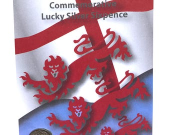 ENGLAND 1966, World Cup Win, Lucky Silver Sixpence Fun Gift or Greetings Card, Free U.K. 1st Class Post