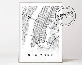 New York City map, New York City poster, New York map, New York map print, city map print, map poster, Manhattan map, Scandinavian wall art