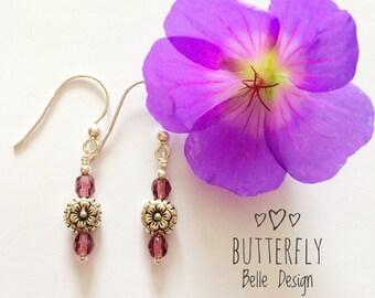 Dusky Pink Czech Glass Drop Earrings Gift for her