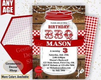 BBQ Invitation / Bbq Birthday invitation / Backyard / barbecue / barbeque / Invite / photo / photograph Boy girl woodland red plaid BDBBQ13