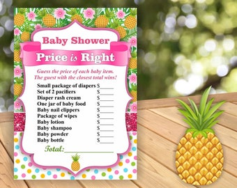 Pineapple Baby Shower Price is Right Game Printable Instant Download Pink Glitter Flowers Blue Sparkles Polka dots TPIRP1 Girl Luau