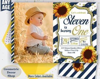 Sunflower Birthday Invitation / First Party Invite Fall Invitation Floral Girl 1st Flowers Gold Navy Blue glitter / One / photo BDSF1