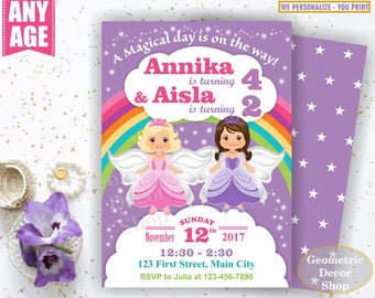 Fairy Birthday Invitation Purple Invitations Girl Invite Pink Invites Magical Day Rainbow Princess joint combined double dual twins BDF2