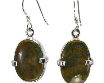 Rhyolite Earrings, 925 Sterling Silver, Unique only 1 piece available! color green, weight 4.4g, #28988