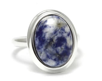 Sodalite Ring, 925 Sterling Silver, Unique only 1 piece available! SIZE 10 (inner diameter 19.67mm), color blue, weight 7.7g, #45936