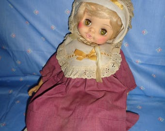"""rare-vintage 1973 HORSMAN baby doll-nice outfit-18""""vinyl doll with sleep eyes,dimpled knees,ORIGINAL outfit,"""