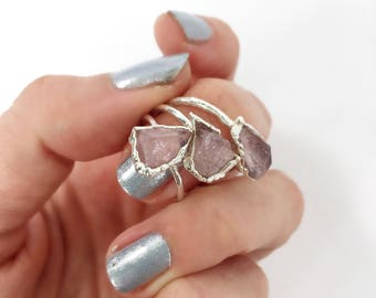 Rose Quartz Ring, Silver Rose Quartz Ring, Pink Stone Ring, Silver Pink Ring, Raw Rose Quartz, Mermaid Jewelry