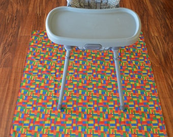 Toy Blocks-Splat Mat / Art  Mat - Baby High Chair Washable Protection