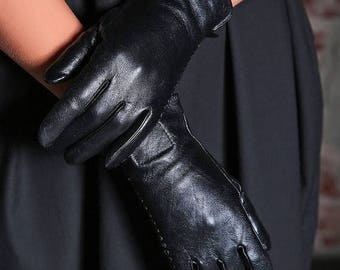 SALE Black Leather Gloves/ Womens Gloves/ Leather Mittens/ Black Gloves/ Steampunk Gloves/ Gothic Gloves/ Wife Gift/ Winter Gloves/ Warm Glo