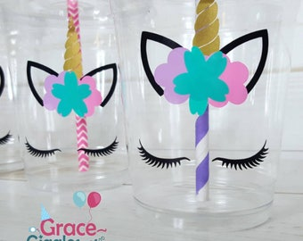 Unicorn Eyelash Themed Party Cups with Lids and Straws