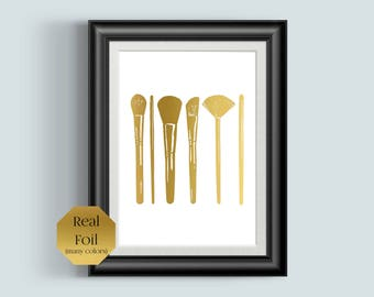 Makeup Brushes, Bathroom Wall Decor, Rose Gold Foil Print, Make Up, Girly Wall Art, Cosmetology Design, Beauty Salon Decor