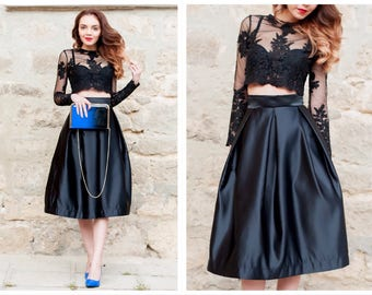 Satin Skirt / High Waisted Skirt / Midi  Skirt / Black Skirt / Elegant Skirt / Womens Skirts / Flared Skirt