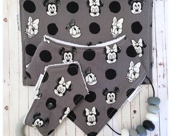 SALE: Handmade Baby Gift Set, Dribble Bib, Silicone Bunny Ears Teether, Burp Cloth & Silicone Necklace, Baby Shower.  Mickey Mouse.