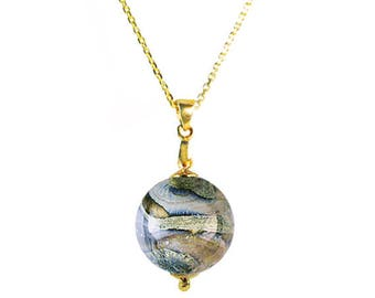 Murano Glass Bead Necklace on Gold Chain 'Gaia' by Mystery of Venice, Italy, Murano Glass Necklace, Earth Jewelry, Gaia Jewelry