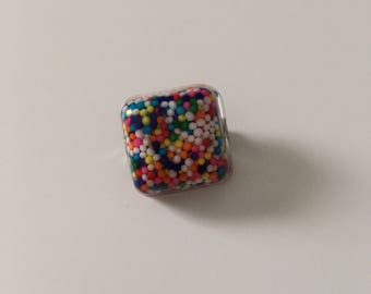 Square Resin Pin/Broach // Resin Sprinkle Pin/Broach // Resin Accessories // Candy Pin/Broach