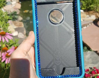 iPhone 7 PLUS Customized OtterBox defender w/Swarovski crystals pretty blinged blue sparkly cute cell phone case .