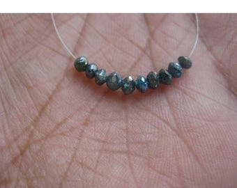 ON SALE 50% 10 Beads Blue Diamonds, Faceted Diamond Beads, Conflict Free Diamonds, Approx 3mm Each
