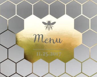 25 Personalised Honey Bee Wedding menus