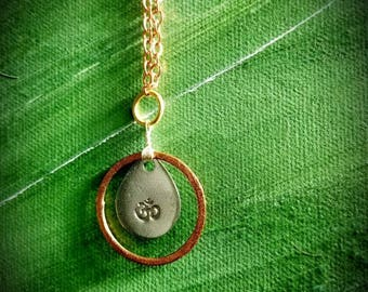 Mixed Metal Ohm Pendant with Chain