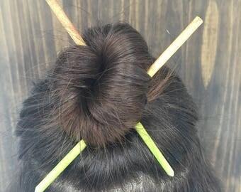 Set of 2 Hair Sticks | Ombre Watercolor Hair Chopsticks