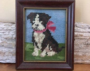 Vintage Pitbull or Boxer Dog Needlepoint in a Wooden Frame Dog Thread Art Framed by Thor Solberg, Inc