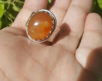 100% Natural Yemeni Red Aqeeq 925 Sterling Silver Islamic Men Ring