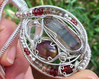 Smoke and Fire Wire wrap pendant w/Herkimer Diamond, Fire agate, Double terminated Smokey quartz crystal and Garnet, Sterling Silver
