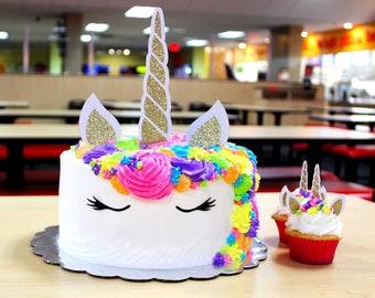 Glitter Unicorn Cake & Cupcake Topper Set | Glitter Unicorn Cake Accessories | Unicorn Birthday Party | Unicorn Cake Set Decoration