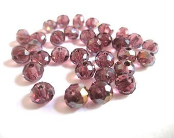 10 prune 6x5mm faceted Crystal beads