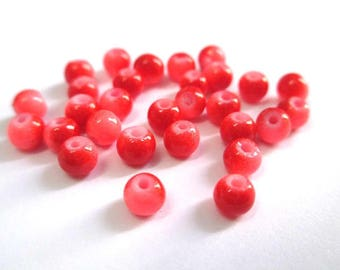 50 two-tone pink and red glass beads 4mm (U-24)
